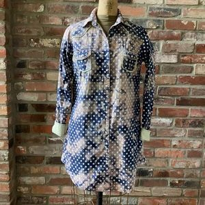 Giddy Up Glamour Shirt Dress Pearl Snaps Tie Dye